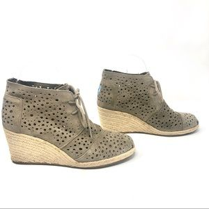 Toms Perforated Tan Suede Espadrille Desert Boots
